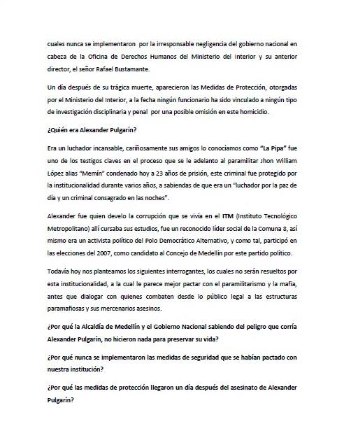 COMUNICADO PÚBLICO. ALEXANDER 1