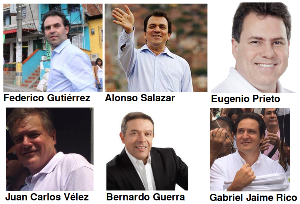 Precandidatos Alcaldía Medellín. Imágenes tomadas de sus cuentas twitter.